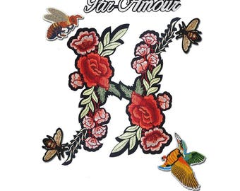 Embroidered Gucci Style Patches Appliques, Pack of Iron on Flowers Patch, Bee Patch, Hummingbird Patch, Par Amour Patch 7 pcs