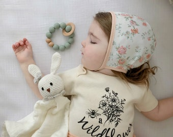 Be a Wildflower Kids ORGANIC Snappie, Baby and Kids Tees, Flowers, Boho Floral, Bouquet Bodysuit
