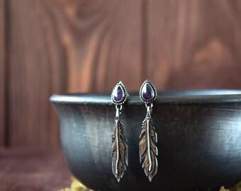 Silver earrings amethyst feathers,ethnic Indian earrings,Boho silver earrings,dangle & drop earrings feathers,silver bird feathers jewelry