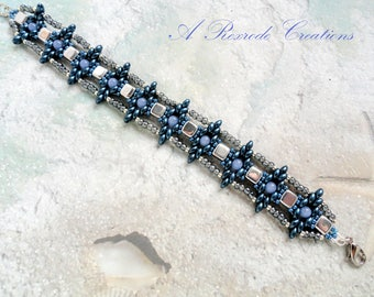 Unique Beaded Bracelet Blue and Silver Seed Bead Bracelet Women's Gift for Her Beadweave Bracelet Super Duo Bracelet Friendship Bracelet
