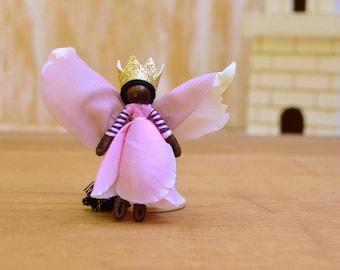 Waldorf Fairy Doll - waldorf fairies, flower fairy doll, flower fairies, black fairy doll, black fairies, mini fairy doll, mini fairies,
