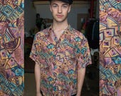 1980's Silk Abstract Pattern Button Down Short Sleeve Shirt by Thumbs Up Vintage Retro Neon Vapor Wave Pastel Aesthetic Top