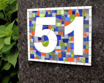 Custom Outdoor Mosaic Address Plaque in Blues, Grey, Green and Orange Stained Glass Tiles, Horizontal or Vertical Mosaic House Number