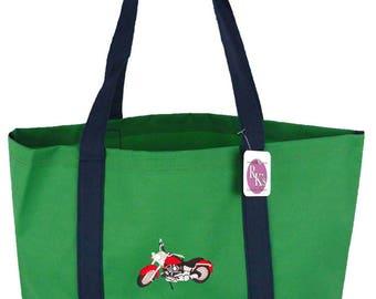Motorcycle Day Tote Bag Biker + Free Name Monogram Custom Embroidered