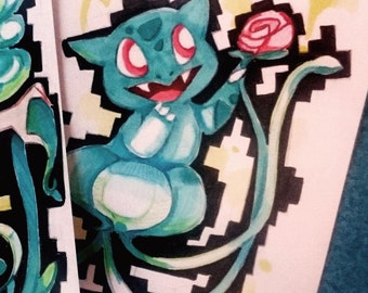 Pokemon Bulbasaur Mermaid Original Illustration for Decoration A6 Art - Cute Kawaii japanese anime girl for mermay pokefan gijinka