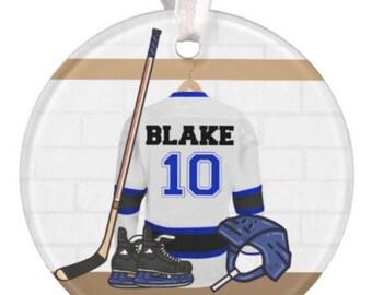 Boys Hockey Ornament, Girls Hockey Ornament, Girls Christmas Ornament, RyElle, Hockey Ornament, Hockey Christmas Ornament, Deer Ornament