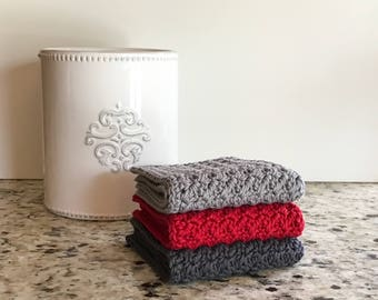 Modern Kitchen Decor - Crochet Dishcloth Set - Kitchen Towels - Knit Dishcloth - Cotton Dishcloth - Crochet Washcloth - Housewarming Gift