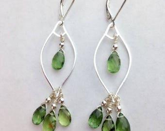 Green Kyanite Earrings ~ Green Kyanite jewelry ~ Green earrings ~ St. Patricks day jewelry ~ Sterling earrings ~ gemstone jewelry ~Pear Tree