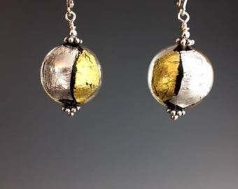 Venetian Murano Glass Earrings - Venetian Glass Jewlery - Holiday Jewelry - Party jewelry - Gold and silver earrings - Gold and Silver