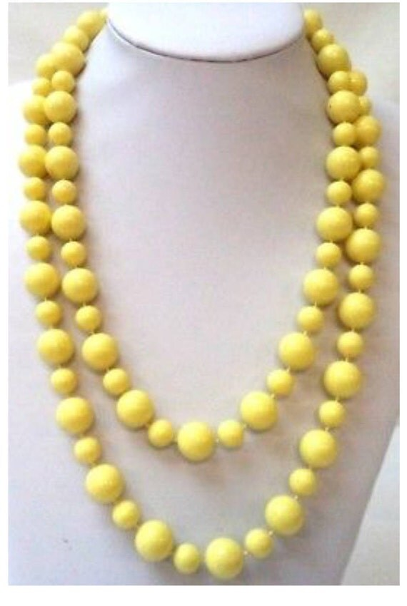 "Stunning Vintage Estate Yellow Beaded 48"" Necklace WOW"