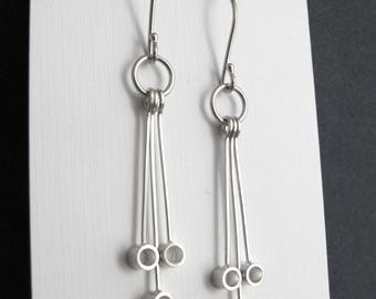 Maxine Dangle Earrings, Open Circle Earrings, Modern Earrings, Geometric Earrings, Modern Jewelry, Sterling Silver, Shiny or Matte Finish