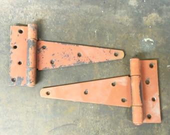 Barn Hardware VIntage Hinges in Great Barn Red Color T Strap Hinge