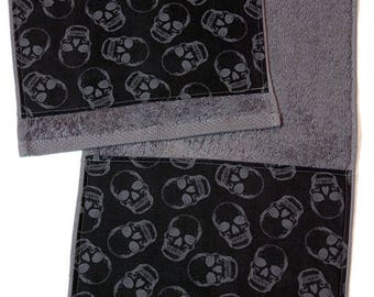 Grey and Black Skulls Bath Towel 30 cm x 50 cm