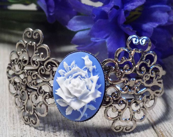 Victorian style antique silver tone filigree cuff bracelet with 3D blue rose cameo