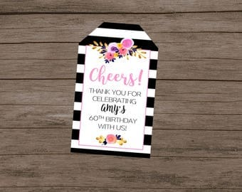 Black and White Floral Thank You Tags, Elegant Thank You Tags, Wedding Favor Thank You Tags, Birthday Thank You Tags, Chic Thank You Tags