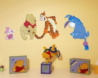 Disney Winnie the Pooh & Friends Wall Decor Nursery Tigger Piglet Eeyore Plastic Canvas