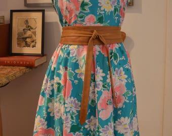 Vintage 1970s Malia Hawaiian turquoise floral swing skirt sun dress M medium