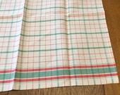 Small Woven Check Tablecloth, Unused Vintage Green Red White Plaid Crisp Linen Cotton Blend, Table Topper Extra Large Kitchen Towel, 23 x 27