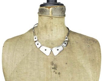 Wide Silver Collar Necklace, Silver Bib Necklace, Silver Choker Necklace, Silver and Black Necklace