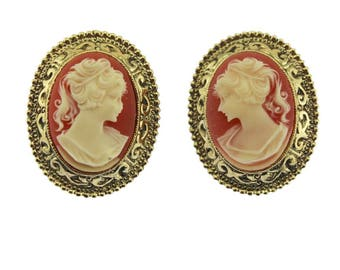 Gold and Pink Cameo Earrings, Large Cameo Earrings, Large Gold Earrings