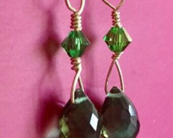 14K Green Quartz Briolette Earrings