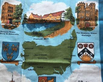 "Vintage Linen Kitchen Towel // 28.5x20"" > Suffolk scenes, buildings, coats of arms > Unused"