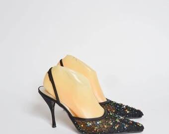 Vintage 90's Black Mesh Slingback Heels with Multi Color Sequin Gems