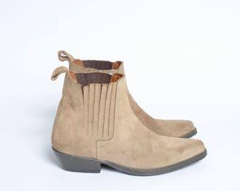 Vintage 90's Light Brown Real Leather Biker Ankle Boots