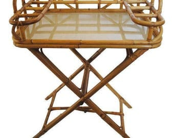 25% OFF SALE - Mid Century Bamboo Bar Tray Table