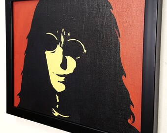 Joey Ramone - The Ramones - Framed - Wall Art Giclee Canvas Mixed media paint - Great Rock'n'Roll Home Decor-