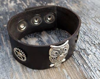 Steampunk Owl Leather Wristband Cuff -Steampunk Bracelet-Steampunk cuff-steampunk Girlfriend Ladies gift