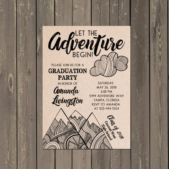 Adventure Graduation Party Invitation Mountain Begins