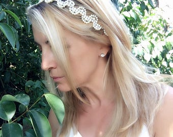 wedding headband, bridal tiara, wedding head piece, Rhinestone and Pearl Hadband, bridal accessories, gift for her, hair flowers
