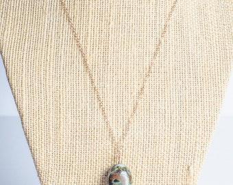 Rose gold necklace, Long chrysocolla pendant necklace, semiprecious, rosegold, gem stone