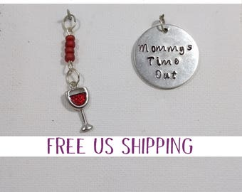 Mommy's Time Out Pendant, Wine Quote, Circle Handstamped, Wino Jewelry, Mom Jewelry, Gift for her, Just Because, Gift for new Mom, Wine Love