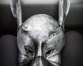 CUIR masque lapin lapin effrayant mascarade beau mâle animaux masque en métal cuir comme métal longues oreilles masqué adault jouer pour les entreprises
