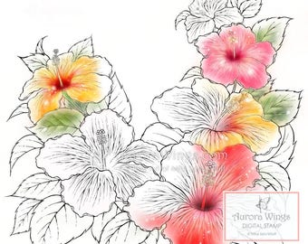 Digital Stamp - Instant Download - Hibiscus - Tropical Flowers - Beautiful Floral Line Art for Cards & Crafts by Mitzi Sato-Wiuff