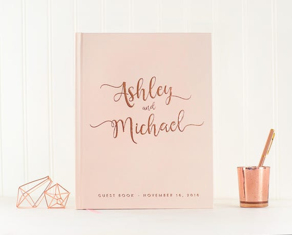 Wedding Guest Book Rose Gold Foil wedding guestbook blush and rose gold custom guest book personalized instant photo booth book sign in book