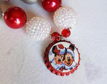Christmas Minnie Mickey Necklace, Bottlecap Pendant, Bubblegum Beads, Girls Chunky Necklace Red White Silver Christmas Minnie Mouse Pendant