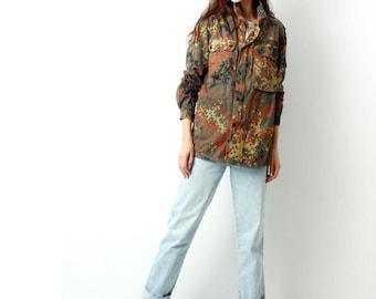 Vintage Camo Jacket / Camouflage Jacket / Military Khaki Jacket / Army Jacket / Grunge Clothing  / Hipster /  Size S / M