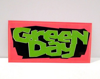 Green Day Sticker - Warning Album LP 2000 Never Used Punk Billie Joe Armstrong Mike Dirnt Tre Cool Hot Pink Lime Green Neon Mohawk Music