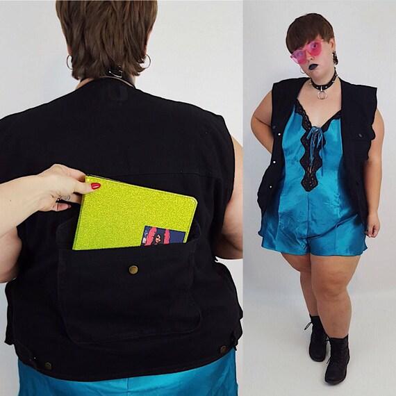 90's Denim Vest Mens Large Womens 2X - Distressed Grunge UNISEX Fashion Vest Jacket -Sleeveless Black Back Pocket Vintage Summer Fall Layer