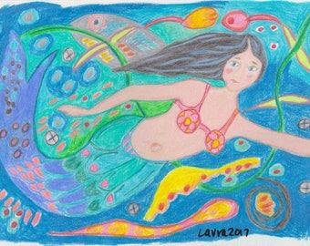 Mermaid of Tidewater - OOAK Original Folk Art