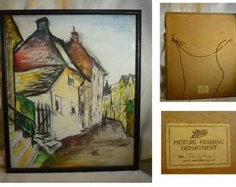 """Vintage Original Cubist Charcoal and Watercolour Painting Street Scene Black Frame 16"""" Home Decor Wall Art French Street Old Boots Frame"""