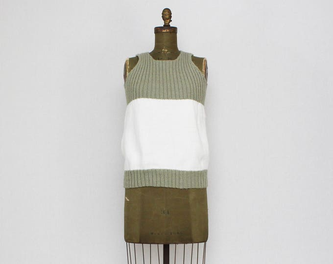 Vintage 1970s Green and White Knit Tank Top - Size Medium