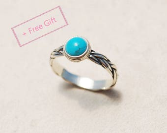 Turquoise Engagement Ring - Sterling Silver and Turquoise ring, Personalized engagement ring, December birthstone ring, Braided silver ring