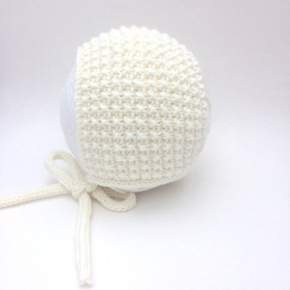 Inga Knit Baby Bonnet in Vanilla Cream- Sizes Newborn to Age 24 months