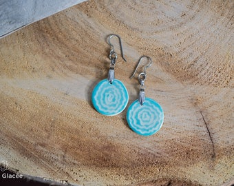 Ceramic earrings, ceramic jewelry, porcelain, green-blue, sgraffito, organic pattern, stainless steel, handmade, waves
