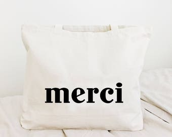 Merci french canvas tote bag, simple minimalist canvas tote bag, casual tote bag
