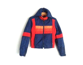 Vintage 80s Colorblock Winter Ski Jacket Sportcaster Women's  Small - Extra Sm